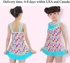 One piece swimsuit for girls-bath suit with skirt girl's size 10-12 Blue, Xazer