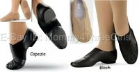 NEW Capezio or Bloch Slip on Split Sole Jazz Shoes Black Tan Youth & Adult