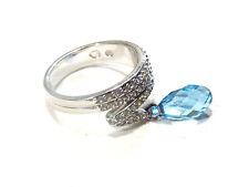 Bijou alliage angenté authentique bague Swarovski cristal bleu ring