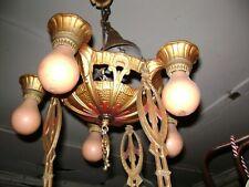 New listing Vintage Antique Cast Spelter Art Deco Ceiling Chandelier Light Fixture