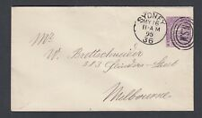 NEW SOUTH WALES AUSTRALIA 1895 POSTAL STATIONERY COVER SYDNEY TO MELBOURNE
