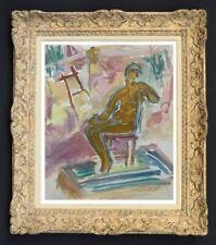 RAYA SAFIR (1909-2004) PEINTURE FAUVISTE SUPERBE NU DANS L'ATELIER 1950 (241)