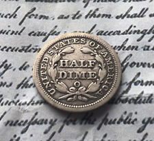 More details for 1857 usa seated liberty silver half dime, o mintmark
