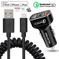 Car Charger Quick Charge 3.0 Mobile Phone Charger 3 Port Fast Charging/Cable