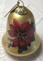 Li Bien Poinsettia Bell Painted Glass Ornament Christmas Holiday Pier One New