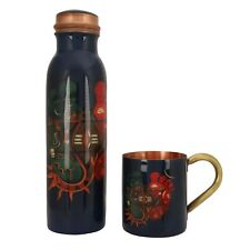 New Printed Attractive Copper Bottle With Copper Cup For Kitchen Use