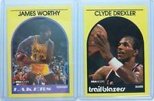 Rare Lot of 2 Yellow Border: 1989-90 Clyde Drexler Worthy Hoops SUPER STARS