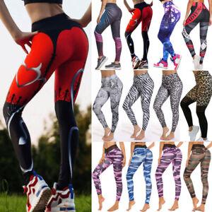 Womens High Waist Yoga Pants Leggings Sports Print Fitness Gym Workout Trousers