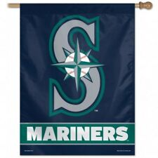 "MLB Seattle Mariners Wincraft 27"" x 37"" Vertical Flag With Pole Sleeve NEW!"