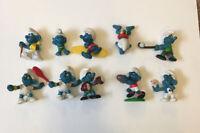 Lot of 10 ~ Vintage 1980's Smurf Figures Peyo Schleich Lot D