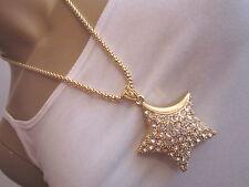 Damen Hals Kette Bettelkette lang Modekette Strass Gold 3D Stern Star Bling q555