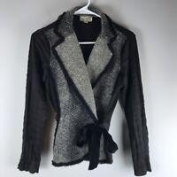 Alberto Makali tweed tie wrap jacket blazer black size S