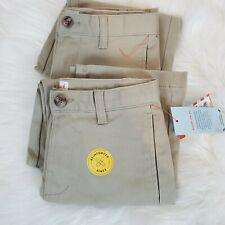 Cat & Jack Boys School Uniform Khaki Pants Sz 7 Straight Adjustable Waist 2 Pair