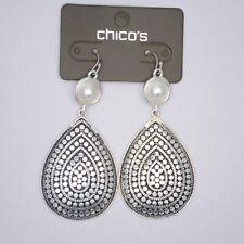 chico's jewelry textured silver plated faux pearl teardrop dangle drop earrings