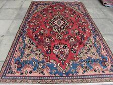Vintage Worn Traditional Hand Made Rug Oriental Red Blue Wool Carpet 258x173cm