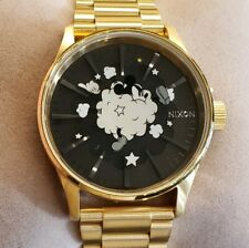 Nixon Mickey Mouse Limited Edition Watch With 42MM Black Face & Golden Breclet