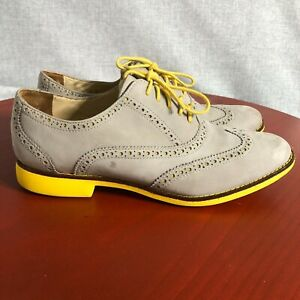 Cole Haan Gramercy Women's Size 9B Shoes Gray Yellow Lace Up Suede Brogue Oxford