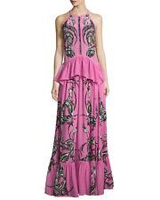 NWT Roberto Cavalli chiffon Feather-Print Peplum Tiered pink  Gown size 44