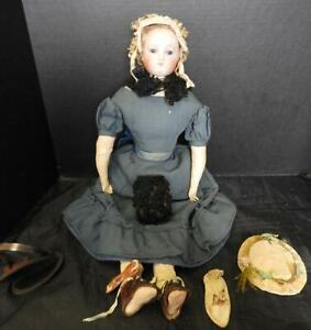 "Rare Civil War Era Eugene Barrois 24"" French Portrait  Face Poupee Fashion Doll"