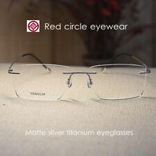 Mens Titanium Eyeglasses rimless matte silver rectangular glasses RX eyewear