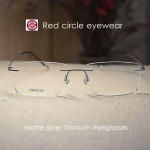 Men's Titanium Eyeglasses rimless matte silver rectangular glasses RX eyewear