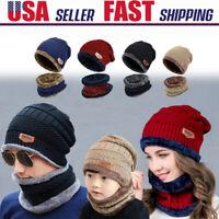 Fr Kids Men Women Beanie Hat Scarf Set Fleece Winter Warm Balaclava Snow Ski Cap