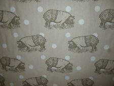 Rare Breeds Saddleback Polka Dot Pigs Cotton Canvas Fabric BTM