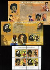 Jimi Hendrix and Bob Marley Stamps - 2006 Congo 3 Block / Sheet Set - Perf; Mnh