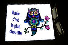 """Chiffonnette essui lunettes """"Mamie c'est la plus chouette"""" Fête des grands mères"""