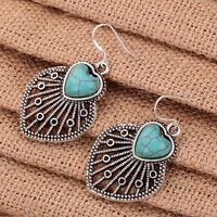 Retro Style Turquoise Peach Heart Tibetan Silver Hollow Out Dangle Hook Earrings