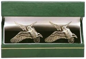 Woodcock Cufflinks hand made in uk pewter shooting 402