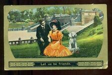 LET US BE FRIENDS Romantic Couple Labrador Puppy Dog Vintage 1910 Postcard