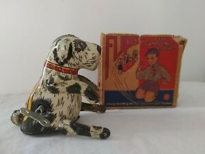 1940's Louis Marx & Co Mechanical Flipo The Jumping Dog Works In Box With Key