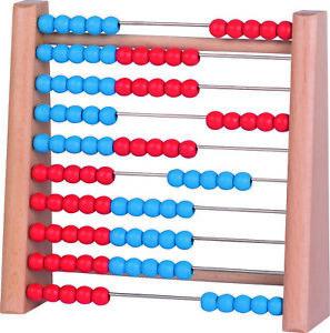 Rechenrahmen rot blau Rechenschieber Abakus Rechenhilfe 100 Kugeln Holz Kinder