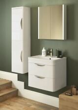 600mm Modern Bathroom Gloss White Wall Hung Vanity Unit Cabinet and Basin Sink