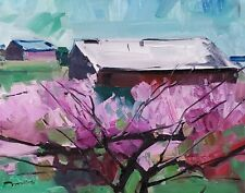 JOSE TRUJILLO Oil Painting CONTEMPORARY LANDSCAPE HOUSES PINK TREE SIGNED ART
