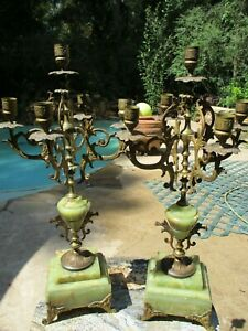 Pair of Antique Green Onyx Candelabras
