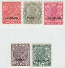 BAHRAIN 1934 - 1937   ISSUE UNUSED   SET SCOTT 15/19