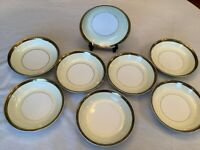"Set of 8 Noritake Soup Salad Bowls Japan China Goldkin 7 1/2"" Gold Band 5675"