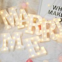 3D LED Night Lamp Letter Sign Alphabet Light Wall Hanging Indoor Decor Party