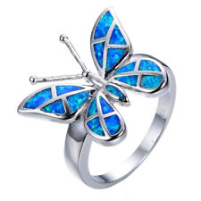 Elegance Personality butterfly Charm Silver Jewelry Wedding Opal Ring size 8