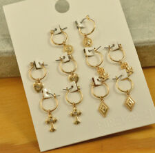 Forever 21 gold small hoop charm earrings SET OF 5 PAIR