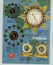 1957 PAPER AD 2 Sided Junghans ATO Mantel Clock Wall Sunburst Musical Alarm