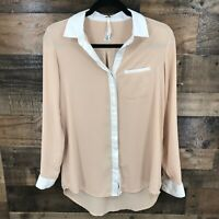 New Free People Women's White And Nude Semi Sheer Button Up Longs Leeve Blouse