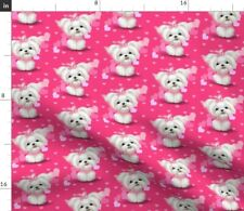 New listing Pink Hearts Dog Girl Pet Spoonflower Fabric by the Yard