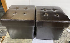 2 Folding Storage Faux Leather Ottoman Box Stool W/ Tray Chocolate Brown