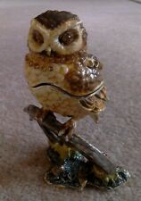 Treasured Trinket Box by Juliana, Owl on Branch, satin lined box, crystal detail
