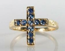 CLASS 9K 9CT GOLD CRUCIFIX CROSS CEYLON SAPPHIRE RING RELIGIOUS