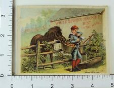 White Sewing Machine Adorable Pony Stealing Boy's Apples Farm Comical F66