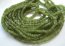 "8"" green VESUVIANITE IDOCRASE gem stone faceted rondelle beads 3mm - 4mm"